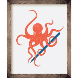 Octopus with Pen 8 x 10 Print | Orange Tree Project