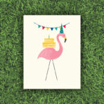 Flamingo Birthday, Cake, Party, Banner, Flag | Orange Tree Project